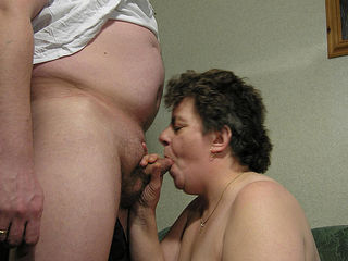This big lady gets her mouth stuffed with cock