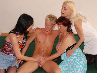 Three horny mature sluts share one hard strapping dude