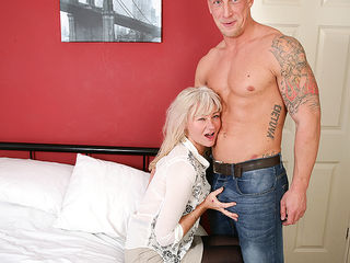 Naughty British housewife fooling around with her younger lover