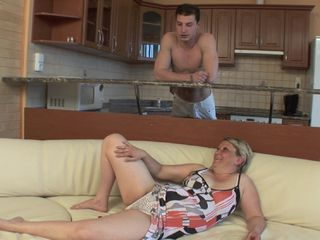 Hairy granny fucked by a young man in crazy modes
