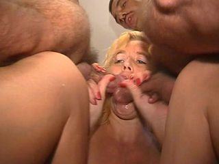 Mature hgets steamy with a bunch of horny dudes