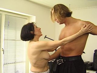 Mature loves the young meat in her furry cherry