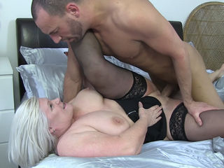 Granny is hungry for cock yet again! Watch Lacey ride this guy, suck his cock, and ride him some more, until her pussy is satisfied and she can barely walk!