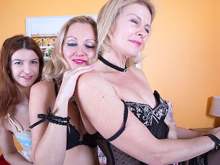 Two MILFs have fun with a hairy lesbian mom