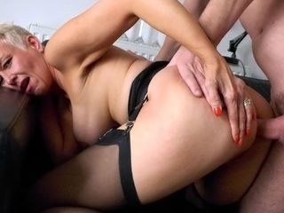 Short haired British mature subslut Scarla Swallows getting her throat fucked by a massive cock, before her filthy cunt gets pounded super hard!