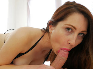 Nina Skye is a lovely lady who loves big-sized dicks. This hot brunette grabs your cock and sensually sucks and teases it using her lips and hands. Nina gives you an amazing blowjob but she is not going to let you cum until she says so.